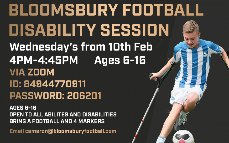 New Session Alert! Bloomsbury FC Online Inclusive Session